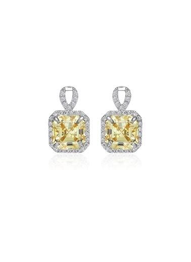 Tophills Diamond Co. 4,6Ct Sarı Pırlanta Efekt Luı Altın Küpe Renkli